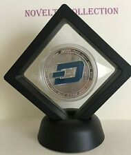Dash Crypto Novelty Coin. 999 Silver Plated In 3D Floating Display Stand