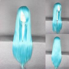 Blaue glatte Perücken & Haarteile und klassischer Kappe aus Echthaar-Kunst