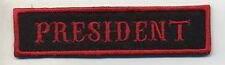 president patch badge car club motorcycle biker MC vest jacket black red