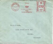 1939 DENMARK TO DENVER COVER 'STATSANSTALTEN FOR LIVSFORSIKRING' METER CANCEL