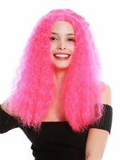 Wig Ladies Long Voluminous Frizzy Curls Middle Part Pink Rosa Elf