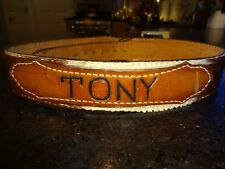 Vintage Tony Lama Leather Belt TONY Cow Hair Size 34 Brown White GUC