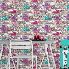 Graffiti Style Brick Wall Wallpaper 3D Urban Street Converse Style Sneakers