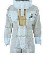 UV Top Quality 3Layer Double Zipper Unisex Bee Full Suit Fencing Veil. White. L