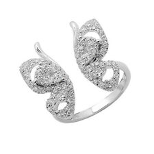 $3147 18K WHITE GOLD PAVE DIAMOND BUTTERFLY COCKTAIL FASHION CUFF RING