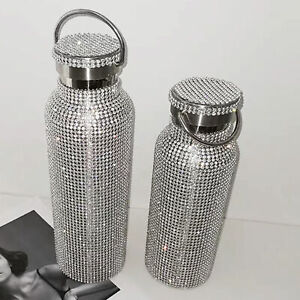 INSULATED RHINESTONE VACUUM CUP STAINLESS STEEL FLASK BOTTLE DRINKING KETTLE