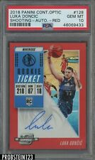 2018-19 Contenders Optic Rookie Ticket Red Luka Doncic RC AUTO /149 PSA 10