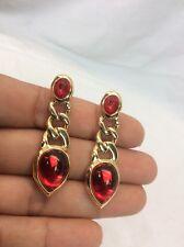 Stunning vtg Trifari Red Gripoix Crystal gold plate  pierce earrings