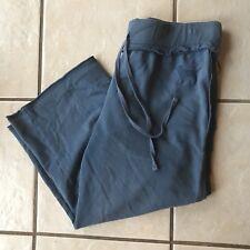 PINK Victoria's Secret LOVE Blue Dog Cotton Capri Cropped Sweat Pants M Euc