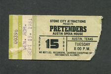 Original 1981 Pretenders Concert Ticket Stub Austin TX Middle Of The Road