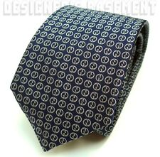 GUCCI men's Neck Tie Blue SILK twill ivory 1973 style INTERLOCKING G NWT Authent