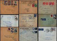 France 1940's -1950's 9 Covers Airmail Paris