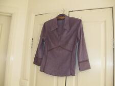 Ladies Top Size 10 Design Next Long Sleeves Colour  Purple Polyester & Elastane