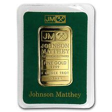 1 oz Johnson Matthey Gold Bar - JM Logo Back - In Assay - SKU #63887