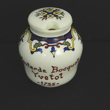 Moutarde Bocquet Yvetot 1735 French Mustard Jar With Lid Floral Pattern NO SPOON