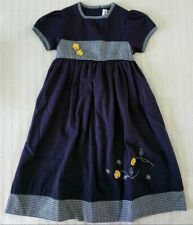 Girl's Navy & Gingham with Yellow Flowers Dress, Size 6