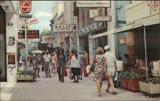 Curacao Street Scene Stores & People - Postcard