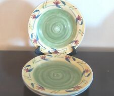 Pier1 Elizabeth Dinner Plates x3 Red/Blue Floral on Green/Yellow