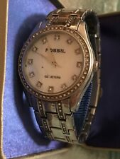 Fossil Ladies Silver Tone Watch 100 Meters Steel *Needs New Battery*