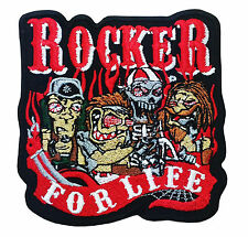 Rocker For Life Gangsters Metal Biker Motorcycle Embroidered Patches Iron On