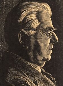 CHARLES PONT SIGNED Original Woodblock Print Portrait Fred Goudy (Typography)