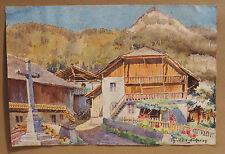 Tableau Superbe aquarelle Chalet de montagne Méribel Signée à déchiffrer