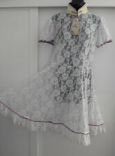 NWT FANPLUSFRIEND COSPLAY LOLITA SHEER WHITE ROSE LACE MANDARIN COLLAR DRESS