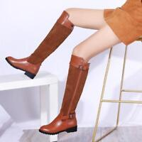 Women Knee High Boots Motorcycle Riding Chunky Heels Buckle Strap Zip Shoe US11
