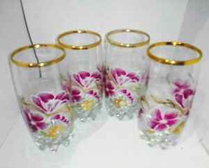 4 VTG TUMBLERS DRNKING GLASSES WITH HAWAIIN FLOWER DESIGN GLD TRIM BUBBLE BOTTOM