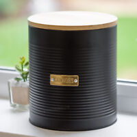 Typhoon Otto Black & Gold 3L Biscuit Barrel Cookie Jar Tin Canister Container