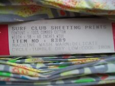 Vintage Surf Club 100% Combed Cotton Sheeting Print 61-62 inches Wide Neon