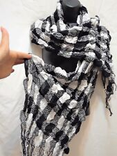 Striped Plaid Check Scrunched Scarf Long Warm Winter Tassel Ruffle Square new