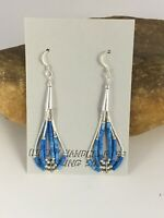 "Liquid Silver Heishi Dangle Dark Blue Turquoise Tube Sterling Earrings 2"" 8873"