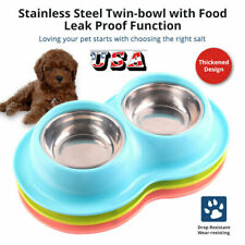 Feeder Dog Cat Double Feeding Bowls Stainless Steel Pet Bowl Water Food Dish