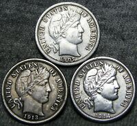 1907-S +1913 +1913 Barber Dimes Silver ---- NICE LOT ---- #A361