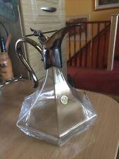 More details for vintage rcr royal crystal rock pitcher carafe decanter silver plate handle & top