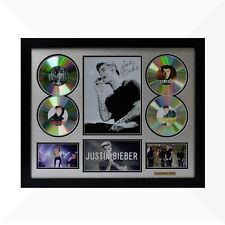 Justin Bieber Signed & Framed Memorabilia - 4 CD - Silver/Black Limited Edition