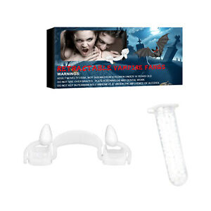 Halloween Retractable Vampire Teeth Dentures Zombie Teeth Fangs +Blood Pills