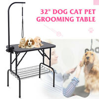 32'' Portable Large Pet Dog Cat Grooming Table Dog wArm Noose Mesh Tray Foldable