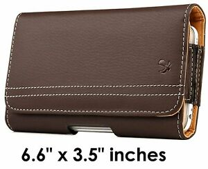 For Motorola One 5G Ace - Brown PU Leather Pouch Belt Clip Holster Case Cover
