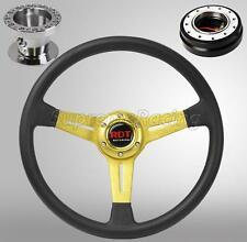 Gold Steering Wheel Quick Release Black Combo For Hyundai Accent Genesis Tiburon
