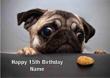 Personalised Pug Puppy Dog  Birthday Card