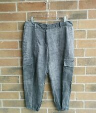 Eileen Fisher Rustic Tinted Linen Gray Cargo Capri Cropped Pants SZ 12 NWT $198
