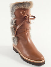 New Steiger Paris Brown Leather Boots With Fur Size 39.5 US 9.5