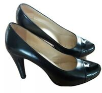 Russell & Bromley Women Black Leather Court Shoes 10 cm Heel UK 6