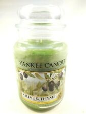 Yankee Candle Olive & Thyme Scented CANDLE 22 oz large jar green wax