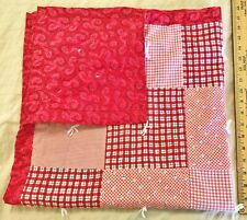 "Vintage Beautiful Red print Baby Nursery Composition Doll Bed Quilt 34"" Blanket"