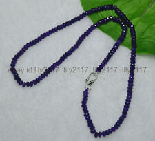 """Fashion 2x4mm Amethyst Faceted Roundel Gems Beads Necklace Silver Clasp 18"""" AAA"""