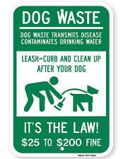 Dog Waste Transmits Disease $25 to $200 Fine Sign