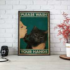 Please wash your hand Quarantined Cat and girl poster girl cat floral art Decor